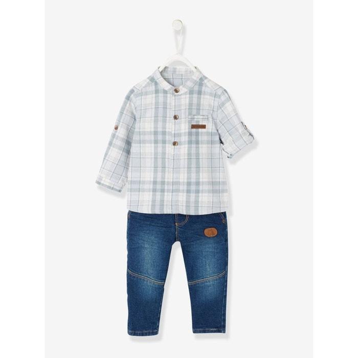a896a16cd2cc9 Ensemble bébé garçon chemise à carreaux col mao + jean bleu foncé délavé  Vertbaudet   La Redoute