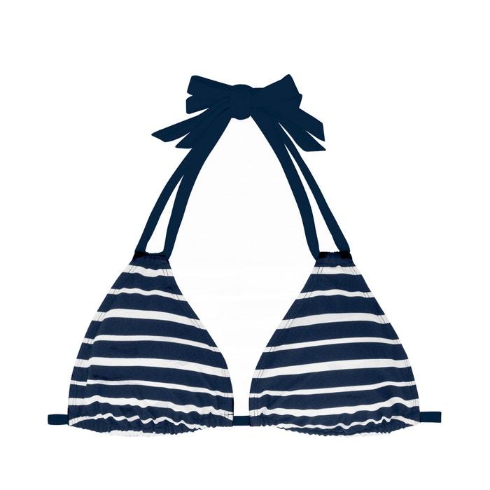 4a43a7a44d67e8 Aruba striped halterneck mix & match bikini top , navy striped/white, DORINA