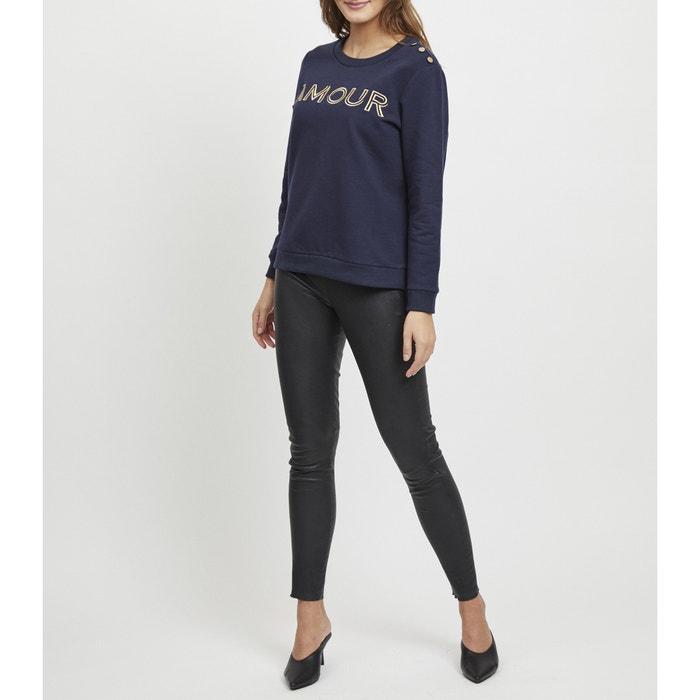 bd8863041e8 Sweater met ronde hals, knopen aan de schouders en print vooraan  marineblauw Vila | La Redoute