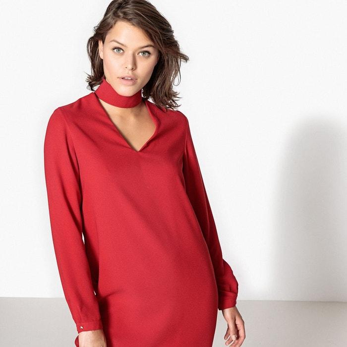 robe droite collier manches longues rouge la redoute collections la redoute. Black Bedroom Furniture Sets. Home Design Ideas