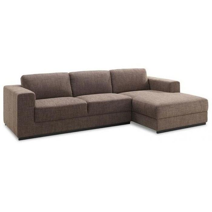 Canapé d angle droit en tissu marron kaliss marron Declikdeco