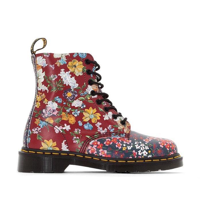 Boots cuir pascal  bordeaux/imprimé fleurs Dr Martens  La Redoute