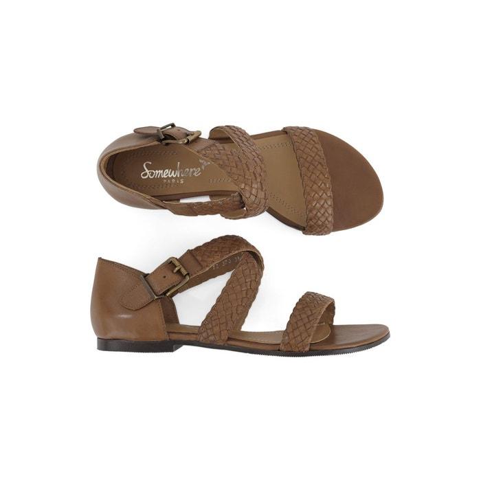 Sandales cuir de vachette tressées et lacées, larka Somewhere