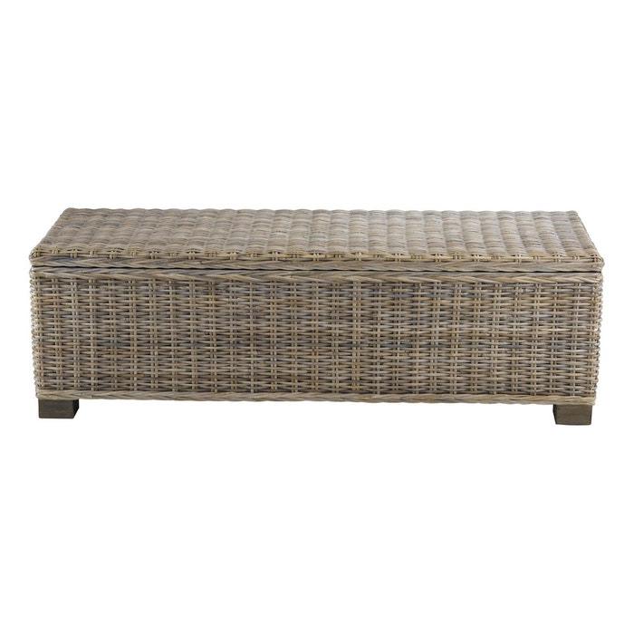 bout de lit coffre en kubu 130 cm gris inwood la redoute. Black Bedroom Furniture Sets. Home Design Ideas