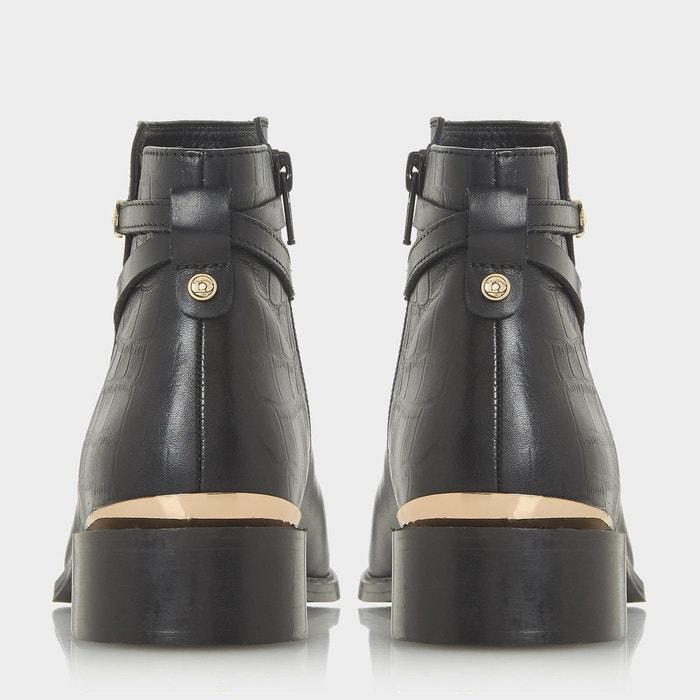 Bottines à petits talons carrés avec boucle - peppy noir cuir Dune London