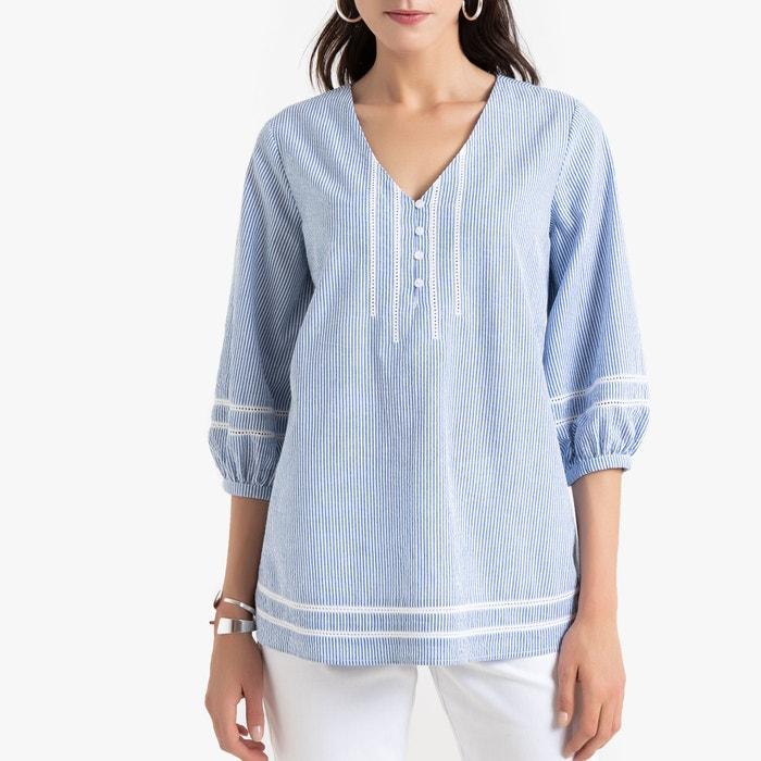 Gestreepte blouse met V-hals, 3/4 mouwen  ANNE WEYBURN image 0