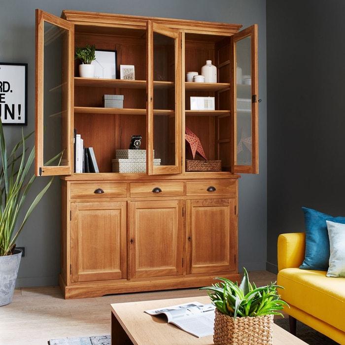 vaisselier en bois de teck brut qualite premium 3 tiroirs 6 portes battantes couleur unique. Black Bedroom Furniture Sets. Home Design Ideas