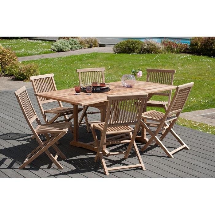 Salon de jardin table d\'extérieur extensible rectangle 120/180x90cm 6  chaises pliantes en bois de teck SUMMER