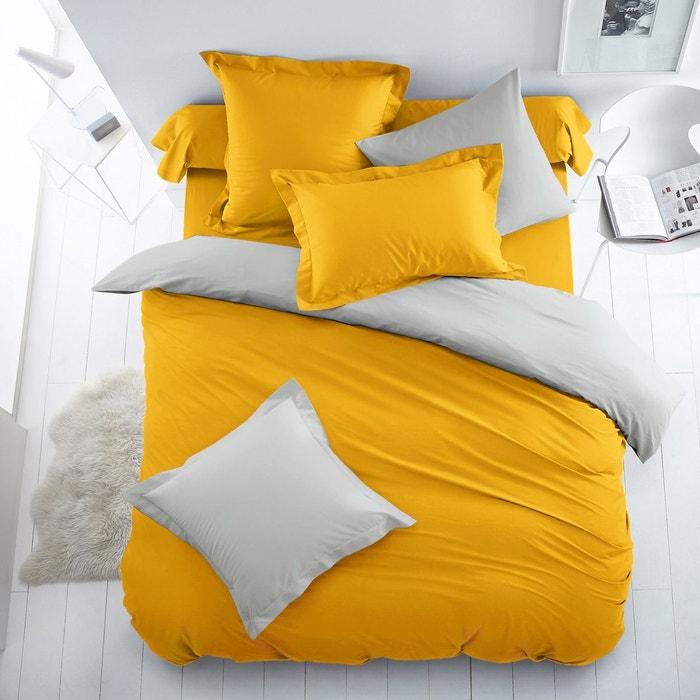 Housse de couette coton bicolore jaune soleil gris perle - La redoute housse de couette bicolore ...