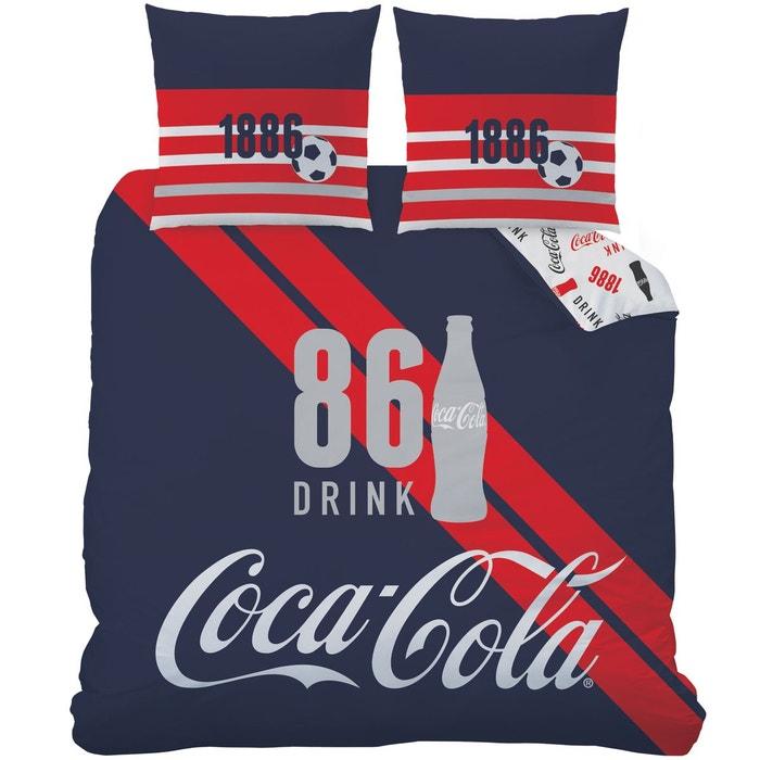 housse de couette coca cola sport 75 coton 25 polyester blanc coca cola la redoute. Black Bedroom Furniture Sets. Home Design Ideas
