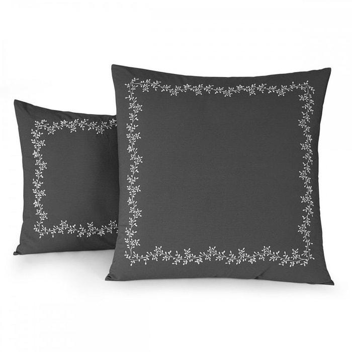 taie d 39 oreiller reverie percale 80 fils gris tradition des vosges la redoute. Black Bedroom Furniture Sets. Home Design Ideas