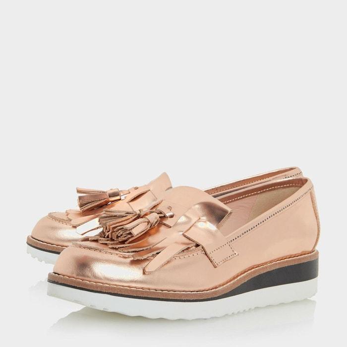 ... Leather flatform loafer - gallaxie or_rose cuir Dune London ...