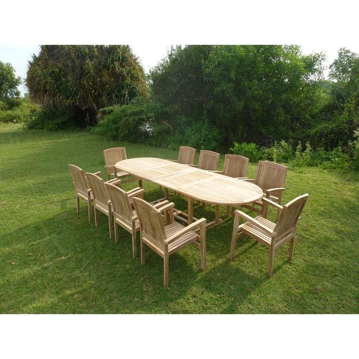 Ensemble de jardin en teck premium nayan 10 fauteuils audia naturel teck 39 line la redoute Table jardin teck la redoute