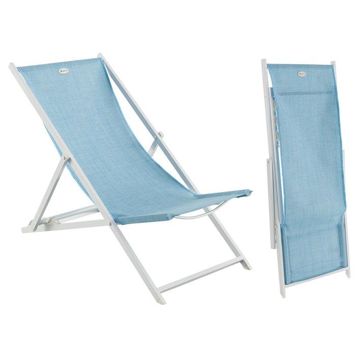 Chaise longue chilienne en texaline pliante veracruz bleu hesp ride couleur u - La redoute chaise longue ...