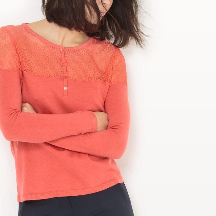 encaje redondo con Jersey con Redoute de cuello Collections pieza La qSAwCA
