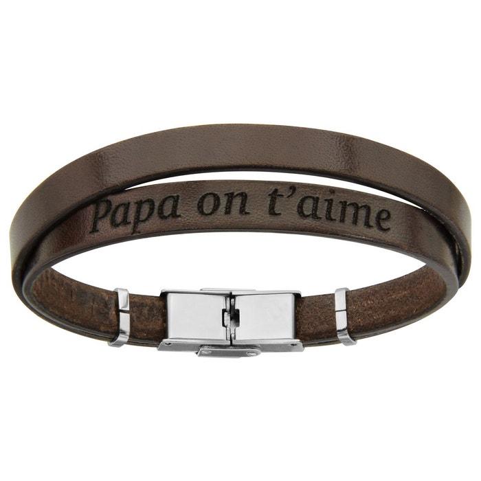 Bracelet homme 20 cm longueur réglable cuir marron double
