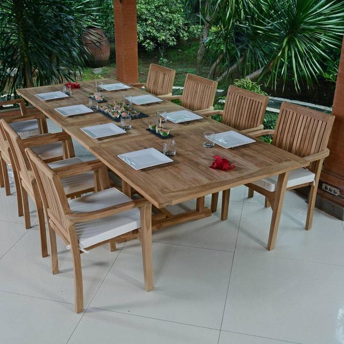 Salon de jardin en teck qualité ecograde vence, 8/10 places naturel ...