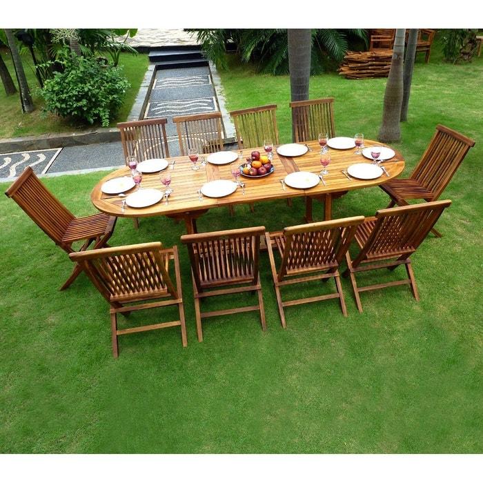 Salon de jardin en teck huil pour 10 personnes table 180 240cm couleur unique wood en stock Table jardin teck la redoute