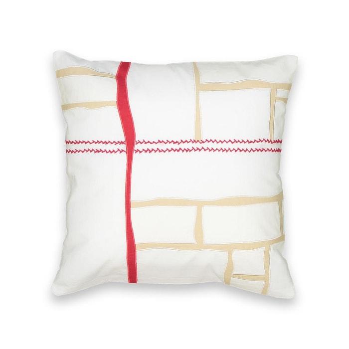 housse de coussin patchwork cosima blanc rouge am pm la redoute. Black Bedroom Furniture Sets. Home Design Ideas