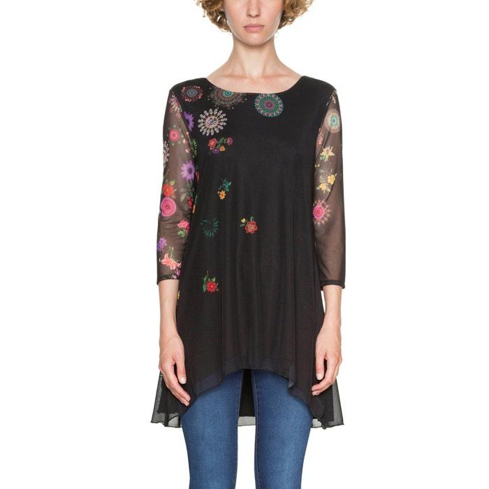 T-shirt scollo rotondo fantasia a fiori, maniche a 3/4  DESIGUAL image 0