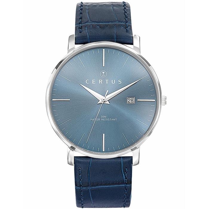 Montre en cuir bleu bleu Certus | La Redoute De Nombreux Types De Prix Pas Cher Payer Avec Visa De Réduction a82Ymr8lSD