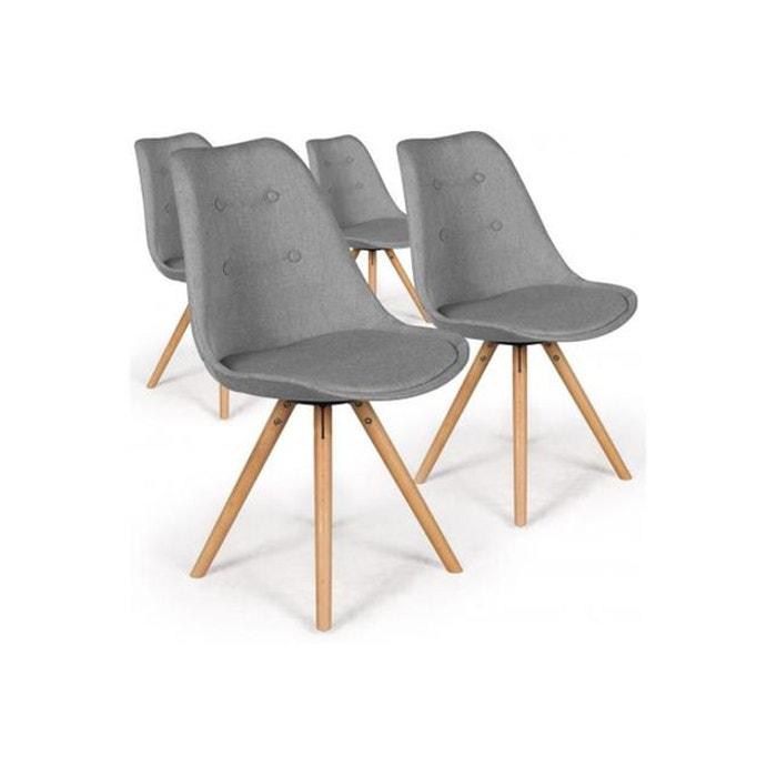 lot de 4 chaises scandinaves tissu gris bruce gris declikdeco la redoute. Black Bedroom Furniture Sets. Home Design Ideas