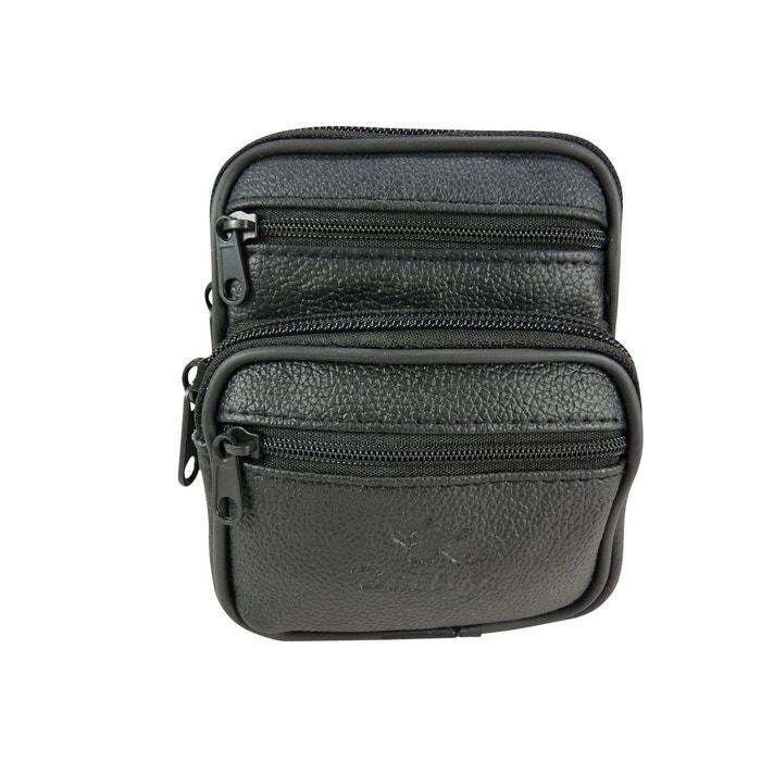 b7a95e00120 Pochette ceinture verticale multi-poches zippées cuir noir Chaussmaro