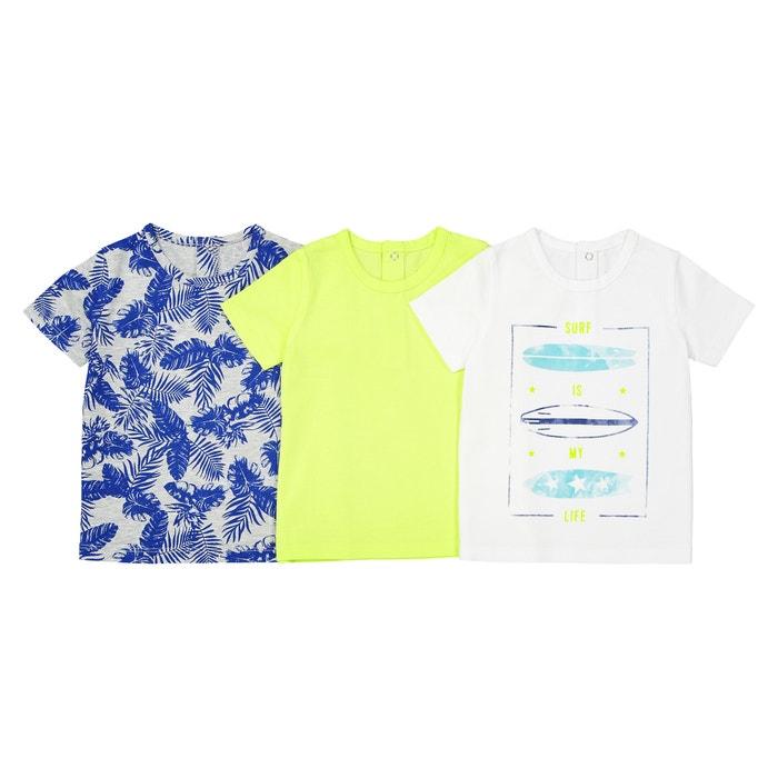 T-shirt scollo rotondo Oeko Tex 1 mese-2 anni (conf. da 3)  La Redoute Collections image 0