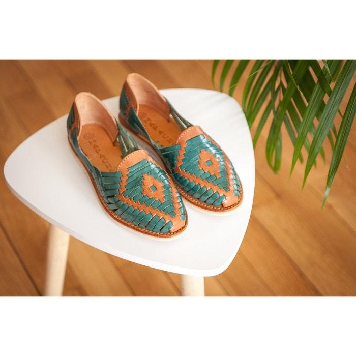 Chaussures plates dété à enfiler en cuir tressé de couleur bleu turquoise Mapache