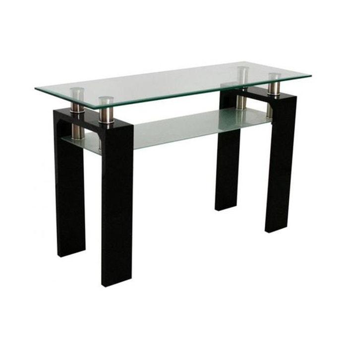 console en verre et en bois gloria transparent declikdeco. Black Bedroom Furniture Sets. Home Design Ideas