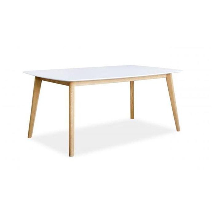 Table à manger scandinave rectangulaire 140 blanche baki blanc ...