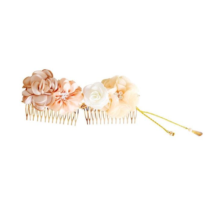 lot de 2 peignes cheveux mariage fleurs ivoire p che et beige couleur unique mes tites lilis. Black Bedroom Furniture Sets. Home Design Ideas