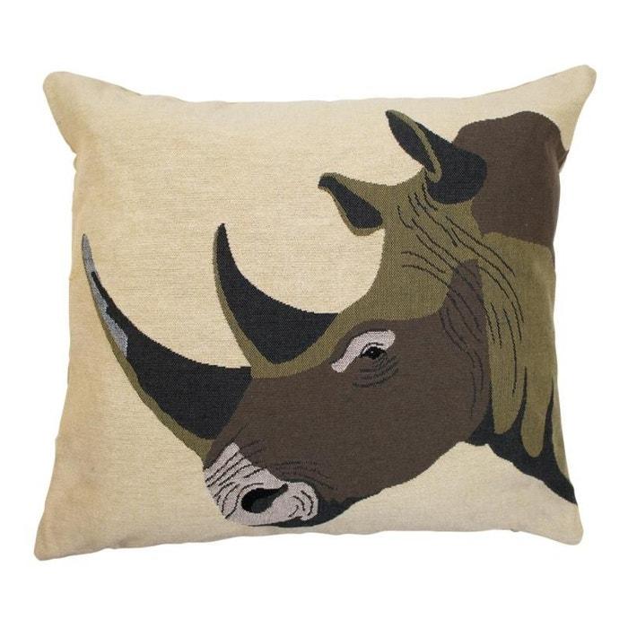Coussin gobelin rhinocéros