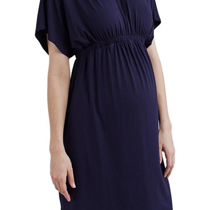 66c499a748 Robe fluide de grossesse manches courtes bleu marine Isabella Oliver ...