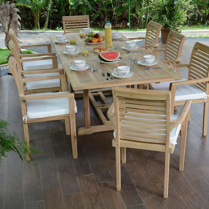 Salon de jardin en teck ecograde kingston, table extensible 1.80 à ...