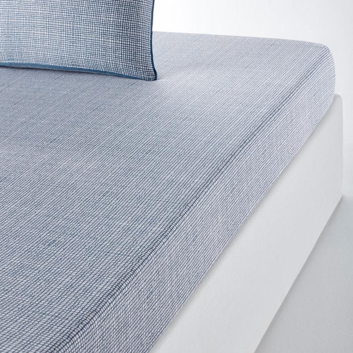 Drap housse pur coton etamine la redoute interieurs bleu for Draps housse la redoute