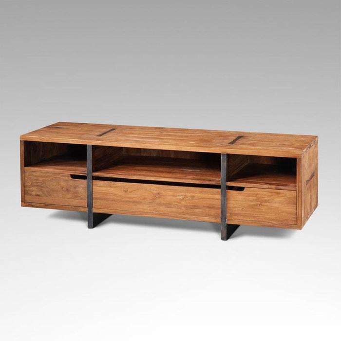 meuble tv rectangulaire teck et m tal kha home design la redoute. Black Bedroom Furniture Sets. Home Design Ideas