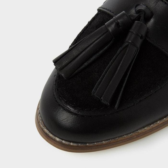 Mules plates style mocassins - geen noir cuir Dune London