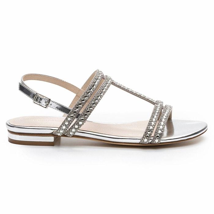 Sandales plates cuir hidi mir   argent Cosmoparis   La Redoute