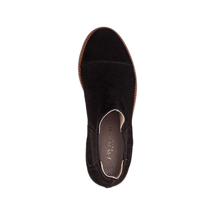 Boots cuir velours Damalis, Vert Kaki