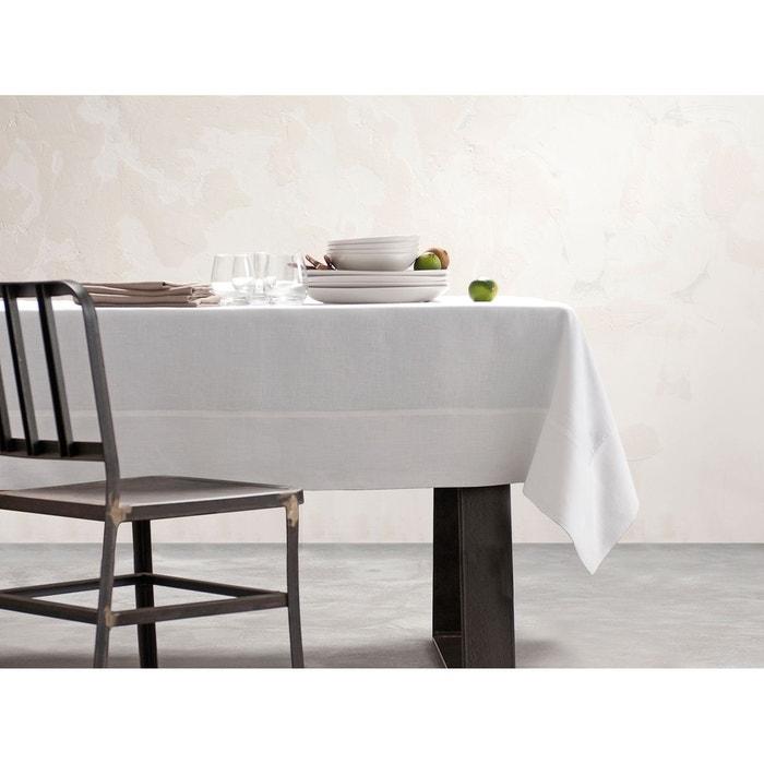 nappe blanche lin d perlant unie brod e blanc blanc cerise la redoute. Black Bedroom Furniture Sets. Home Design Ideas