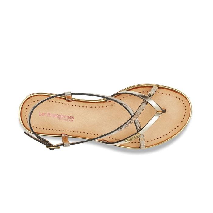 Sandales cuir monaco or Les Tropeziennes Par M Belarbi