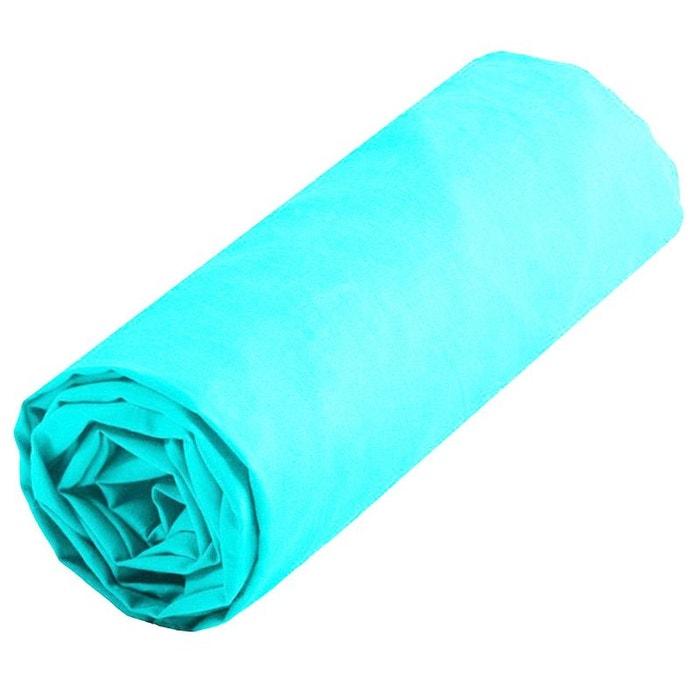 Drap housse turquoise uni taille 160 x 200 cm couleur - Drap housse grande taille ...