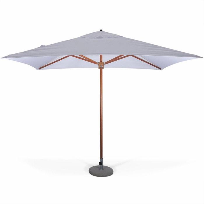 parasol tr s haut de gamme rectangulaire tokai 3x2m blanc m t central tout bois ouverture. Black Bedroom Furniture Sets. Home Design Ideas