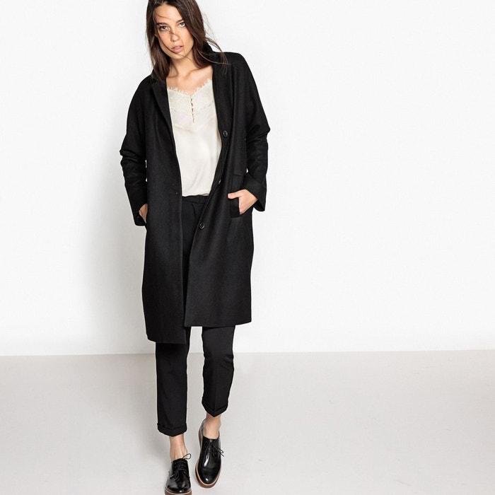 8c4055c28ecc4 Manteau long oversize 40% laine noir La Redoute Collections   La Redoute