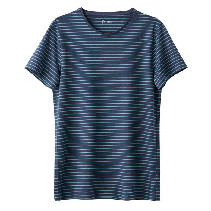 Imagen de Camiseta a rayas con cuello redondo 100% algodón R édition