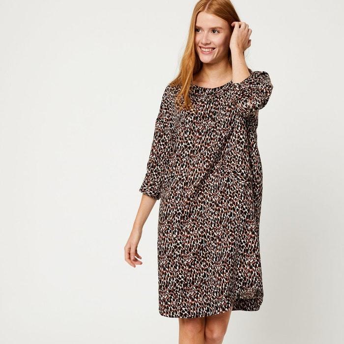 2da9727ff77b Robe tunique en lin imprimée marron Monoprix