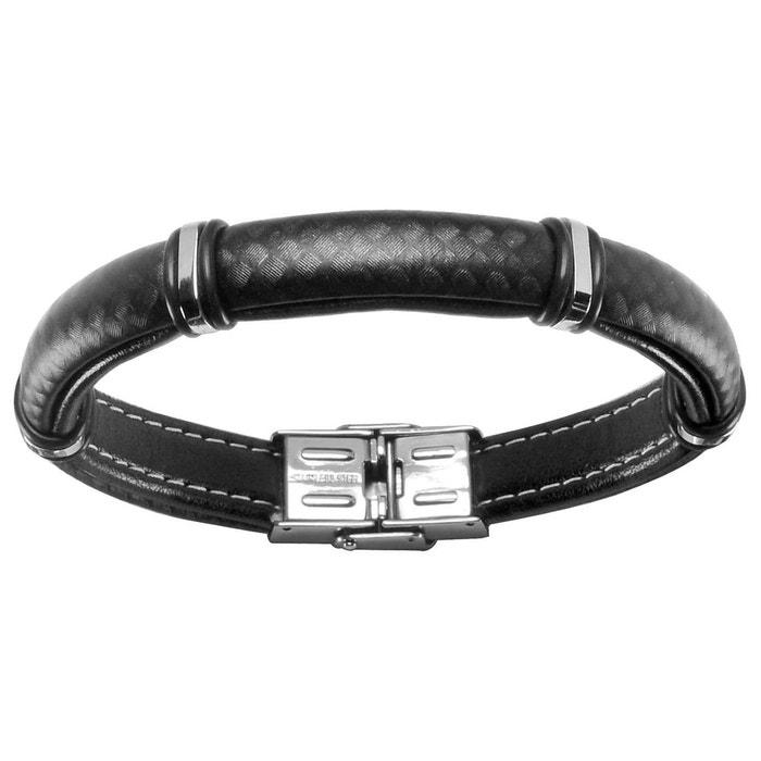 Bracelet homme 20,5 cm aspect quadrillage noir acier inoxydable couleur unique So Chic Bijoux | La Redoute