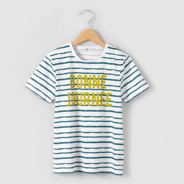 afbeelding Gestreept T-shirt met opschrift 3-12 jr La Redoute Collections