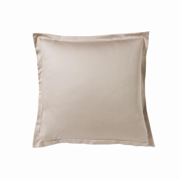 taie d 39 oreiller uni en satin de coton cendre cendre essix la redoute. Black Bedroom Furniture Sets. Home Design Ideas